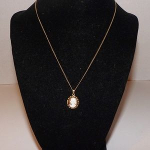 "Jewelry - Vintage Cameo Necklace-16"" Choker, 12K GF"